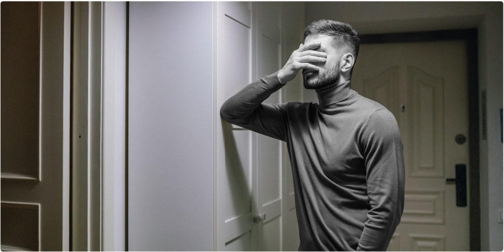 Mann wurde verlassen und ist traurig